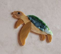 SEA TURTLE Precut Stained Glass Art Mosaic Inlay Coral reef Seascape Table Tile