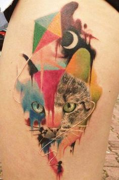 Dzikson Wildstyle geometric cat watercolor tattoo on leg
