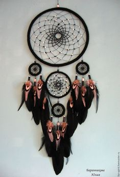 Buy Dream Catcher Black and White - Black and White - Dreamcatchers - Welcome Crafts Buy Dream Catcher, Dream Catcher Decor, Black Dream Catcher, Dreamcatchers, Dream Catcher Tutorial, Diy And Crafts, Arts And Crafts, Beautiful Dream Catchers, Creation Deco