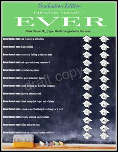 Graduation Party Game: Never have I by 31Flavorsofdesign on Etsy