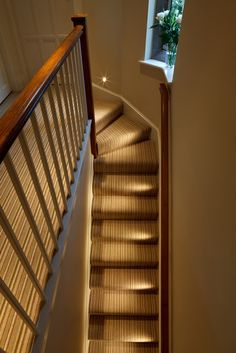 indoor stair lighting: Extravagant stair design with handrail and LED lighting