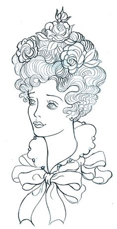 a lovely woman - embroidery pattern. Could this also be a coloring page?