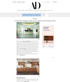 2016 Architectural Digest | Design kitchen ideas from Salone Del Mobile 2016 | Click on pin to read article |  #SnaideroUSA