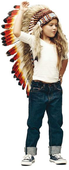 For Children: Long Indian Three colors  red Feather Headdress