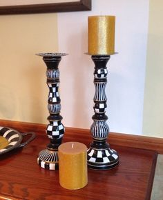 Wood tall candle sticks - SINGLE PIECE - black and white checks - hand painted via Etsy