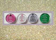 Keep Calm Magnets. Glass Magnet Set. Keep Calm and Be Happy. Inspirational Words, Locker Magnets, Office Decoration, Fridge Magnets.