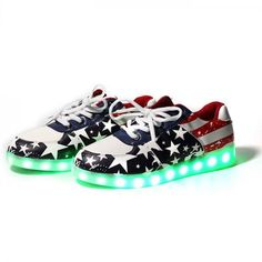 5231efbc663 Low Top USA Flag LED Luminous Shoes For Women is one of the best-seller and  most famous shoes