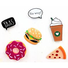 """Womens Girls Cartoon Enamel Lapel Pin Set Cute Patches Pins Badge for Clothings  Cool Fast food enamel pin set includes our donut lapel pin, pizza lapel pin, burger lapel pin,yass lapel pin,no way lapel pin and coffee Lapel Pin.This Pin Set is designed to be a """"ready-to-give"""" unique gift  Assorted enamel novelty brooch pins in sliver tone finish in a set of 6  Materials: Zinc Alloy, Enamel Handmade Panted Coating.  Cute fast food pins badge set for Decorate clothing, jacket, hat, Backp..."""