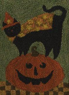 Teresa Kogut Boo Kitty The Pattern Hutch primitive punch needle Halloween embroidery stitchery craft pattern