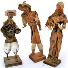 VINTAGE LOT 3 Collectible PAPER MACHE FOLK ART MAN WOMAN Latin Mexico Mexican $135 ... we sell more VINTAGE and ANTIQUES HOME DECORATIONS at http://www.TropicalFeel.com