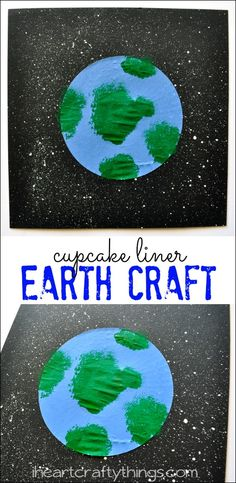 Cupcake liner earth day craft for kids ambiente, reciclagem Craft Projects For Kids, Crafts For Kids To Make, Arts And Crafts Projects, Art For Kids, Moon Projects, Cupcake Liner Crafts, Cupcake Liners, Cupcake Wrappers, Earth Craft