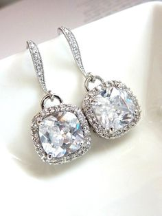 Wedding Earrings Bridal Earrings -  AAA Halo Clear White Square Cubic Zirconia (Not Foiled Back) with White Gold Plated CZ Earings
