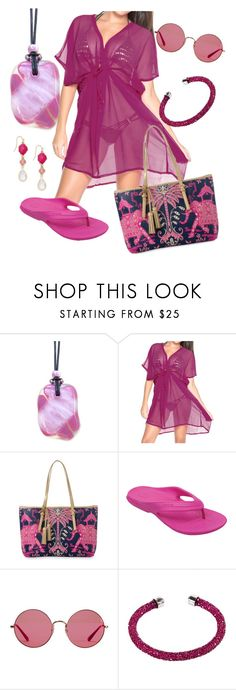 """""""Pretty Pink Beachwear"""" by mairi-thompson ❤ liked on Polyvore featuring Spartina 449, Crocs, Ray-Ban, Swarovski, INC International Concepts and Summer"""