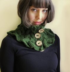 Hand knitted Wool Neckwarmer Olive Green by Benivision on Etsy, $39.00