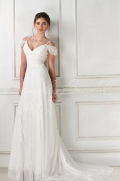 The Shelby Is A Light And Airy Chiffon Gown With Flattering Princess Seams Y Sweetheart Neckline Lace Sleeves Ruffle Detailing Along Skirt