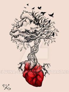 Tree Heart Birds DNA Tattoo by Elvina-Ewing on @DeviantArt