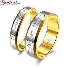 Wedding Couple Rings For Women & Men Engagement Stainless Steel Gold Plated Forever Love Jewelry Fashion Ring Lover Gift No Fade