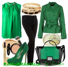 kočka v zelenom  #clothes  #green  #black  #highheels