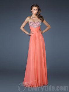 6d85a1205f6a Wholesale Unique Sweetheart A-line Chiffon Floor-length Orange Prom Dresses  Strapless Dress Formal