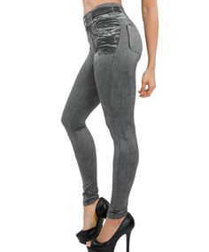 3cc6480ef22 Hayoha 2017 Leggings Jeans for Women Denim Pants with Pocket Slim Leggings  Women Fitness Plus Size Leggins S-XXL Black Gray Blue