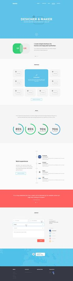 Here's the PSD resume page template of Beetle, a responsive HTML5 template for landing pages, blog and resume. Free PSD designed by Frank Ra...