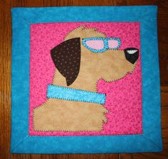 Retriever quilted applique wall hanging.  Dog quilt.