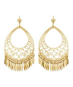 Another great find on #zulily! Gold Filigree Fringe Chandelier Earrings #zulilyfinds