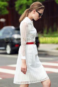 Collar Long Sleeve Midi Length Long White Work Dress