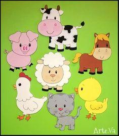 Farm Barnyard animal cutouts Birthday Party by supercutecutouts Farm Animal Crafts, Farm Animal Party, Farm Animal Birthday, Farm Birthday, Farm Party, Party Animals, 2 Baby, Farm Theme, Felt Crafts