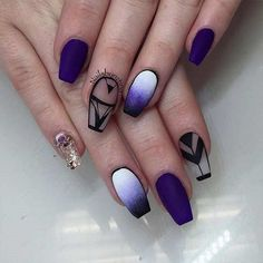 Transparent, Purple and Ombre Coffin Nail Art Design. If you want to create something unique with your coffin nails, you really don't need to work that hard. You can just leave your nails naked by creating different patterns where other parts show your normal nails.