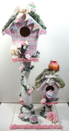 shabby chic birdhouses | shabby chic altered bird house birds shabby chic…