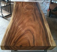 Live Edge Dining Table Acacia Wood Live Edge Reclaimed Solid Slab by flowbkk on Etsy