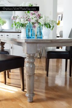 A beautiful rustic finish on a pine dining table with Coco Country Grey Chalk Paint® decorative paint by Annie Sloan | By Orphans with Makeup
