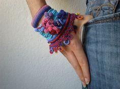 Alcea Biennis  ... Freeform Crochet Cuff  by irregularexpressions