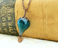 Blue Hot Air Balloon Necklace  A Steampunk by