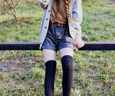 high wasted images, image search, & inspiration to browse every day. Girls Fashion Clothes, Girl Fashion, Fashion Outfits, Knee High Stockings, Studded Sandals, Dress Outfits, Dresses, Hipster, My Style