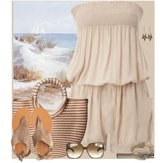 Beach outfit, I love the nude color! Fashion Days, Everyday Fashion, Love Fashion, Beach Fashion, Cute Beach Outfits, Beach Vacation Outfits, Nude Outfits, Spring Outfits, Summertime Outfits