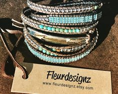 "Boho Leather Wrap Bracelet, Western Fashion, ""Blue Sky"" by fleurdesignz Western Jewelry, Boho Jewelry, Handmade Jewelry, Jewelry Design, Handmade Bracelets, Vintage Jewellery, Jewelry Trends, Earrings Handmade, Antique Jewelry"