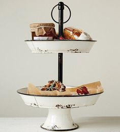 Black and White Enamel Two Tier Stand