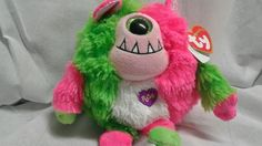 """Ty Monstaz SPIKE 5"""" Size Pink with Green with Sound Plush  