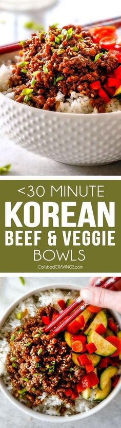 Less than 30 Minute Korean Beef Bowls are my absolute favorite last minute dinner! bursting with flavor and one of the absolute easiest meals you will ever make!