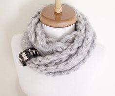 Braid Infinity Wool Scarf Neckwarmer Grey-Winter by knittingshop