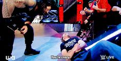 this was after the low blow to Brock that Roman was telling Dean you're crazy Roman Reigns Memes, Roman Reigns Shield, Wwe Roman Reigns, Dean Ambrose Seth Rollins, Roman Reigns Family, Wwe Gifs, Roman Reigns Dean Ambrose, Wwe Superstar Roman Reigns, The Shield Wwe