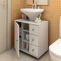 Balcão para encaixe de coluna de pia com gavetas Branco - Politorno | Lojas KD
