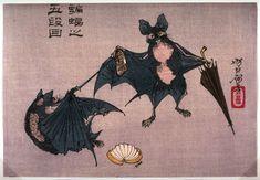 Title: Komori no godan (bats) Artist: Tsukioka Yoshitoshi Origin: Japan Date: 1880-1883 Source: Ukiyo-e.org > FAMSF