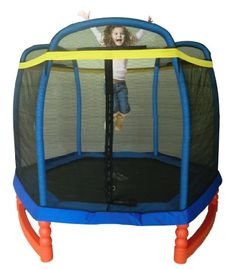 Indoor/Outdoor Trampoline - Kid Size. My 3 year old has a great time on this mini-trampoline. Low to the ground, safety wrapped and fully netted. FUN!