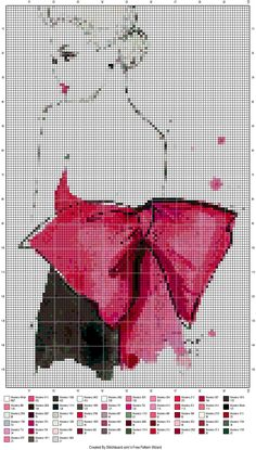 0 point de croix femme robe avec noeud rouge dans le dos - cross stitch lady with a red bow in her back