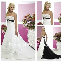 Vintage Style Silver Embroidery On Satin Black and White Wedding Dress 2012 $179.99