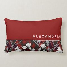 Red White Black & Gray Floral   Name Keepsake Lumbar Pillow - tap to personalize and get yours #LumbarPillow #red, #white, #monogrammed, #black, #gray, Red And White, Black And Grey, Gray, Lumbar Pillow, Bed Pillows, Red Colour Palette, Color, Red Background, Custom Pillows