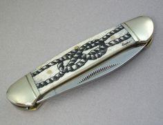 Nautical Scrimshaw Pocket Knife with Sailor'sKnot by lindalayden, $49.95